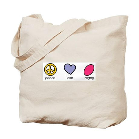 Peace Love Rugby Humor Tote Bag