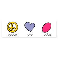 Peace Love Rugby Humor Bumper Bumper Sticker