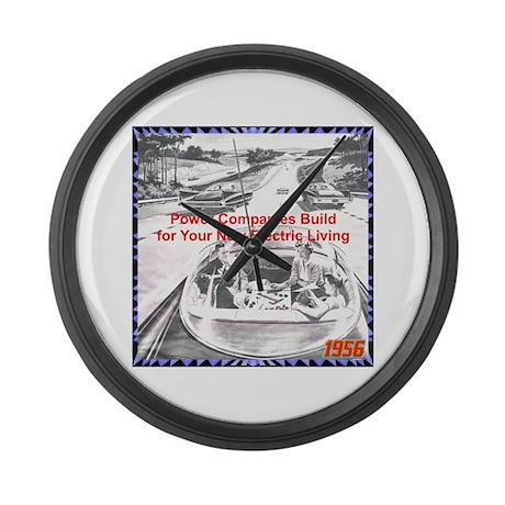 """""""1956 Futuristic Ad"""" Large Wall Clock"""