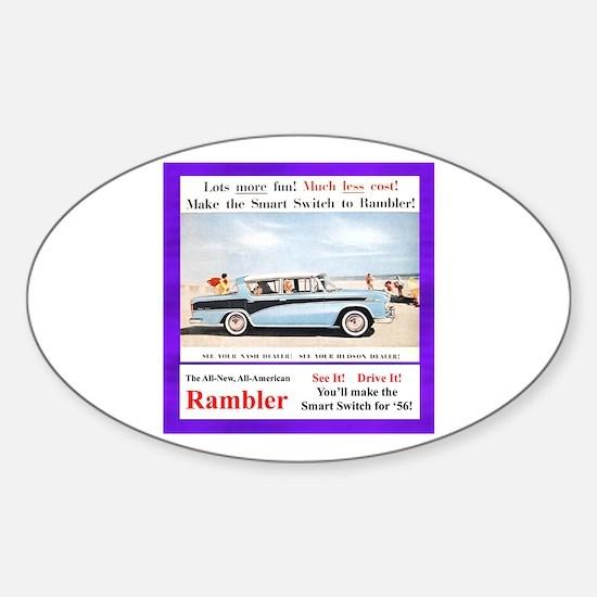 """1956 Rambler Ad"" Oval Decal"