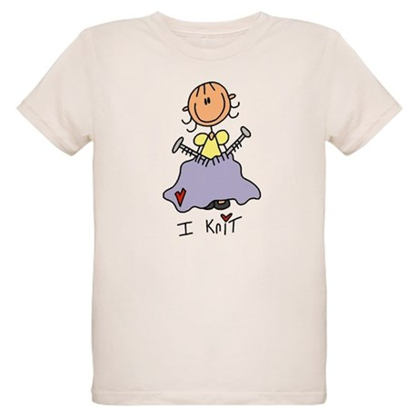 I Knit Stick Figure Organic Kids T-Shirt