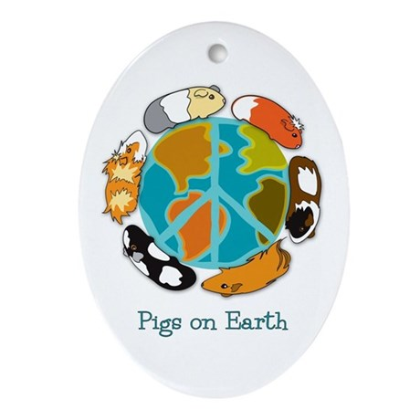 Pigs on Earth Oval Ornament