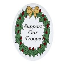 Support Our Troops Holiday Oval Ornament