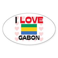 I Love Gabon Oval Decal