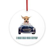 Chihuahua Driving Car Ornament (Round)