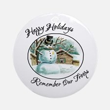 Military Snowman Happy Holidays Ornament (Round)