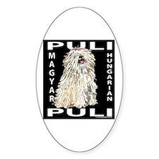 Magyar Puli (white) Oval Decal