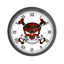 Cunningham Tartan Skull Wall Clock