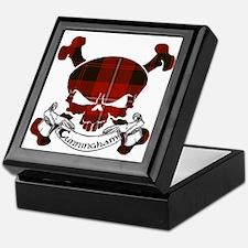Cunningham Tartan Skull Keepsake Box