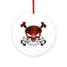 Cunningham Tartan Skull Ornament (Round)