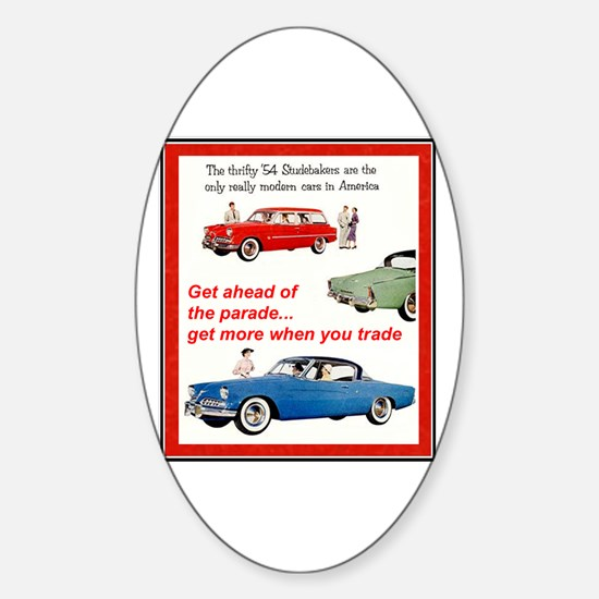 """""""1954 Studebaker Ad"""" Oval Decal"""