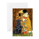 Kiss / Flat Coated Retriever Greeting Cards (Pk of
