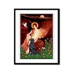 Angel / Flat Coated Retriever Framed Panel Print