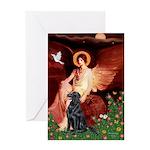 Angel / Flat Coated Retriever Greeting Card