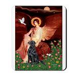 Angel / Flat Coated Retriever Mousepad