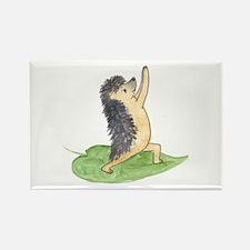 Yoga Hedgehog Warrior Leaf Rectangle Magnet