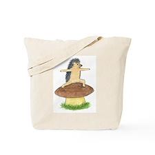 Yoga Hedgehog Warrior Mushroom Tote Bag