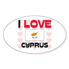 I Love Cyprus Oval Decal