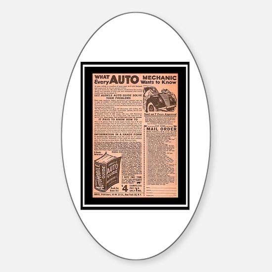 """""""Auto Guide-Circa 1960"""" Oval Decal"""