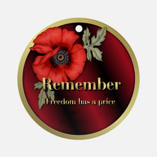 Remember Poppy Ornament (Round)