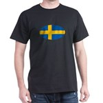 Oval Swedish flag Black T-Shirt