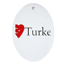 I Love Turkey Oval Ornament