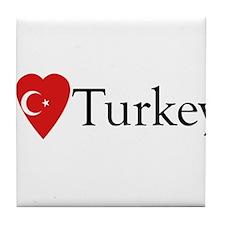 I Love Turkey Tile Coaster