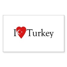I Love Turkey Rectangle Decal