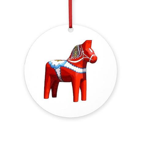 Dala Horse Ornament (Round)