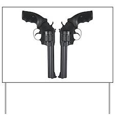 Black Back To Back Revolvers Yard Sign