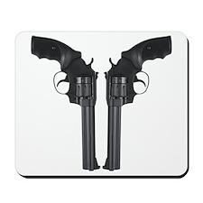 Black Back To Back Revolvers Mousepad