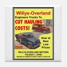 """""""1949 Willys Ad"""" Tile Coaster"""