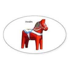 Dala Horse Oval Stickers