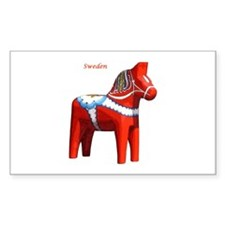 Dala Horse Rectangle Stickers