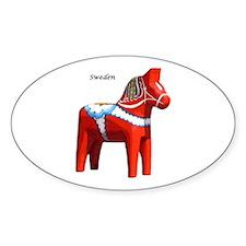 Dala Horse Oval Sticker (10 pk)