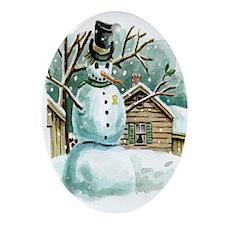 Military Snowman Oval Ornament