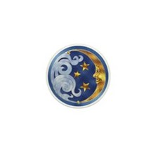 Celestial Moon and Stars Mini Button