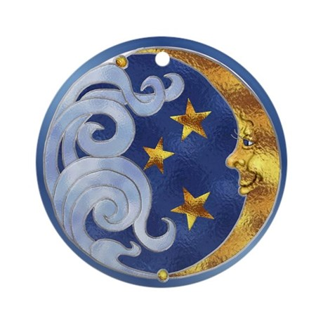 Celestial Moon And Stars Ornament (round)