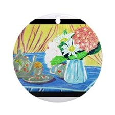 Teapot Flowers Ornament (Round)