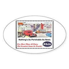 """""""1946 White Trucks Ad"""" Oval Decal"""