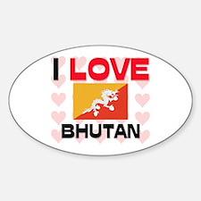 I Love Bhutan Oval Decal