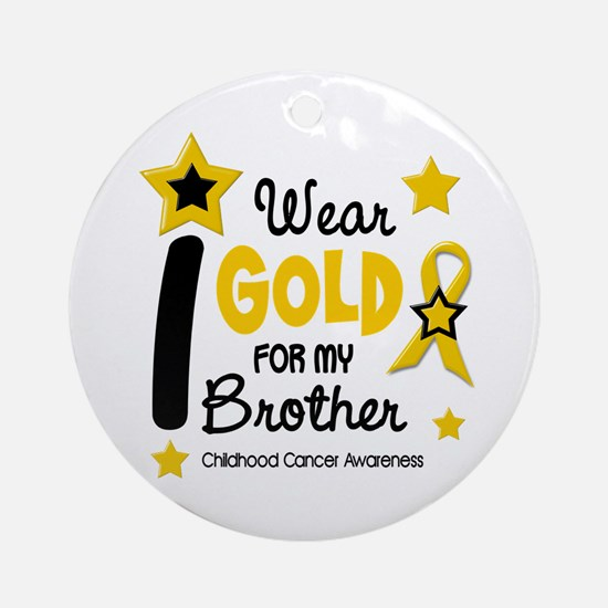 I Wear Gold 12 Brother CHILD CANCER Ornament (Roun