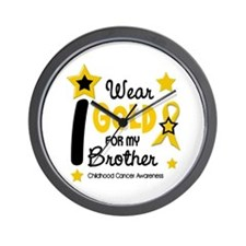 I Wear Gold 12 Brother CHILD CANCER Wall Clock