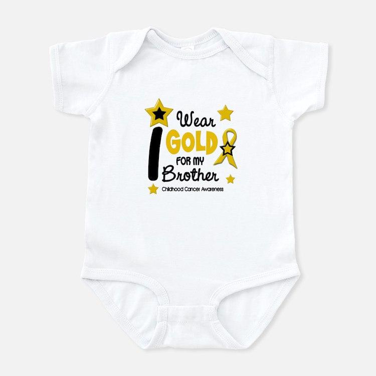 I Wear Gold 12 Brother CHILD CANCER Infant Bodysui