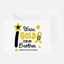 I Wear Gold 12 Brother CHILD CANCER Greeting Card