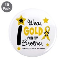 """I Wear Gold 12 Brother CHILD CANCER 3.5"""" Button (1"""