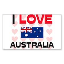 I Love Australia Rectangle Decal