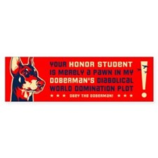 Doberman World Domination Bumper Bumper Sticker