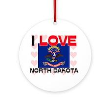 I Love North Dakota Ornament (Round)