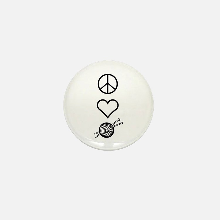 Peace Love Knit Mini Button (10 pack)